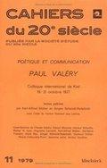 Cahiers du 20e Siècle: Poétique et communication Paul Valéry - Blüher, Karl Alfred