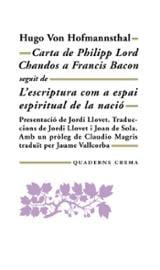 Carta de Philip Lord Chandos a Francis Bacon - Von Hofmannsthal, Hugo